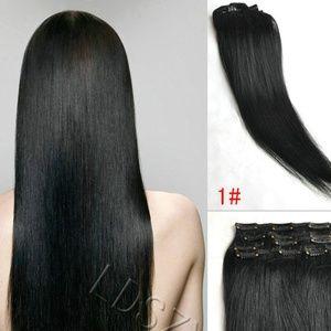 "Accessories - 8 Pcs Straight Hair Extensions 23"" Jet Black"